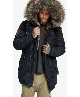 ПАРКА KHUJO UNKAR SOLID WITH FUR - NAVY