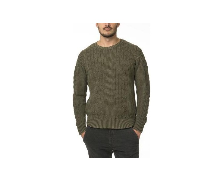 СВИТЕР DSTREZZED CABLE ACID WASHED COTTON ARMY GREEN фото 1