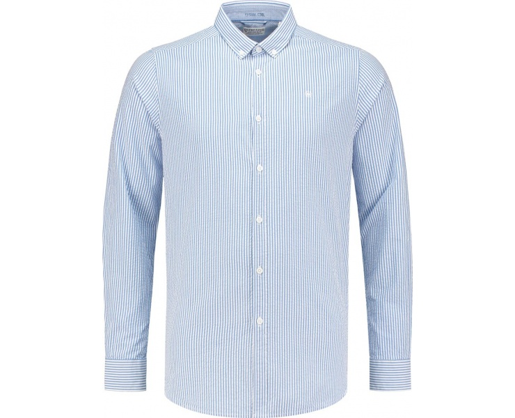 РУБАШКА DSTREZZED SHIRT BD SEERSUCKER STRIPE STRONG BLUE фото 1