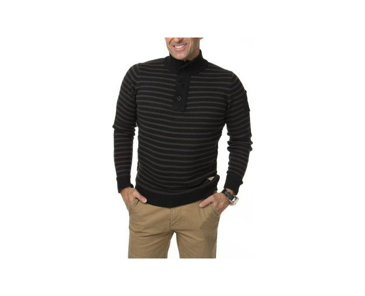 СВИТЕР DSTREZZED HALFZIP COTTON WOOL STRIPE BLACK MEL. фото 1