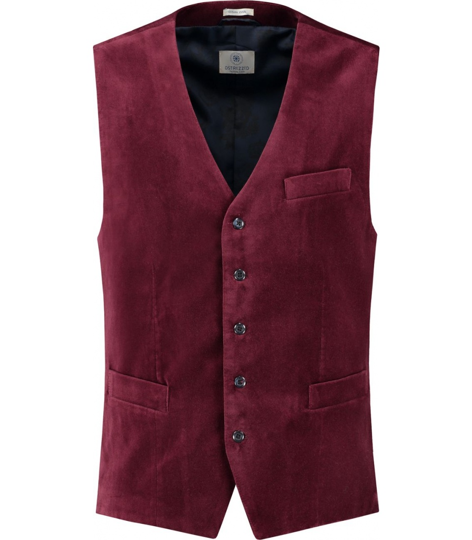 ЖИЛЕТ DSTREZZED GILET WASHED VELOUR PORT RED фото 1