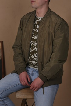 БОМБЕР DSTREZZED REVERSIBLE BOMBER JACKET ARMY GREEN