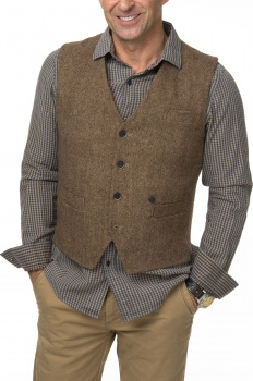 ЖИЛЕТ DSTREZZED GILET WOOL TWEED KHAKI