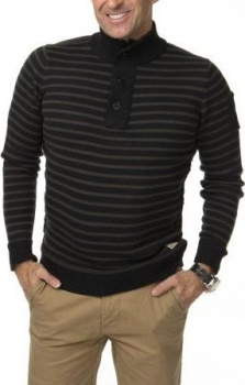 СВИТЕР DSTREZZED HALFZIP COTTON WOOL STRIPE BLACK MEL.