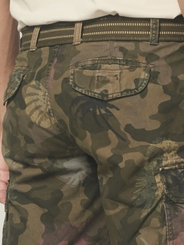 ШОРТЫ DSTREZZED COMBAT SHORTS WITH BELT CAMO HIBISCUS CANVAS ARMY GREEN CAMO